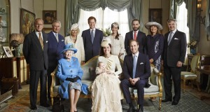 Britain's Prince William, his wife Catherine, Duchess of Cambridge and their son Prince George pose with family members after the christening service at St James's Palace in London