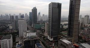 Suasana gedung bertingkat dan perkantoran di Jakarta,