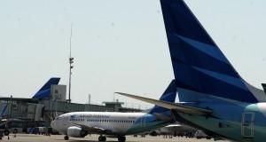 Pesawat milik maskapai Garuda Indonesia saat terparkir di terminal 2F, Bandara internasional Soekarno Hatta, Tangerang, Banten, Senin (14/7). Untuk Pesawat milik maskapai Garuda Indonesia saat terparkir di terminal 2F, Bandara internasional Soekarno Hatta