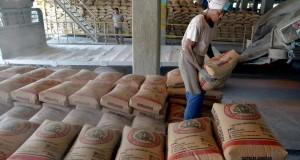 Seorang pekerja menata sak semen di atas truk di Unit Packer II Semen Gresik Pabrik Tuban Jatim, Jumat (8/8)
