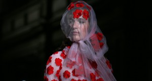 A model presents a creation from the Simone Rocha Spring/Summer 2015 collection during London Fashion Week