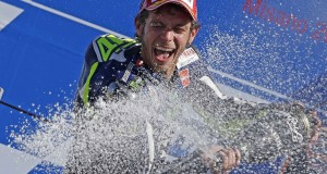 Yamaha MotoGP rider Rossi of Italy sprays champagne on the podium after winning the San Marino Grand Prix in Misano Adriatico circuit in central Italy