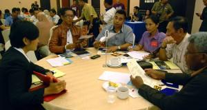 Suasana Table Top yang mempertemukan pelaku usaha industri pariwisata Jakarta dengan para buyer dari Papua di Jayapura, Papua, Kamis (23/10).