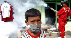 Seorang anak mengenakan masker ketika petugas melakukan pengasapan (fogging) untuk memutus siklus hidup nyamuk aedes aegypti di kawasan Kenjeran, Surabaya, Jatim, Jumat (30/1)