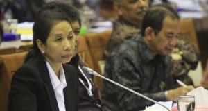 Menteri Badan Usaha Milik Negara (BUMN) Rini Soemarno (kiri) mendengarkan pertanyaan dari Komisi VI DPR-RI dalam rapat kerja di Jakarta, Senin (19/1).