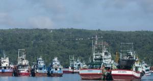 Puluhan kapal ikan eks asing menghentikan aktivitas penangkapan ikan, akibat kebijakan moratorium atau penghentian sementara izin untuk tangkap ikan kapal eks asing dari Menteri Kelautan  dan Perikanan Susi Pudjiastuti, dengan berlabuh di Teluk Ambon