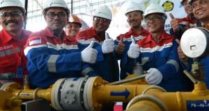 Menteri ESDM Sudirman Said (kedua kiri), Dirut Pertamina Dwi Sutjipto (ketiga kanan), dan Gubernur Jambi Hasan Basri Agus (keempat kiri) mengacungkan jempol saat peresmian pengelolaan jaringan gas rumah tangga di Jambi