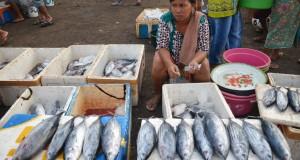 Pedagang menggelar ikan cakalan dagangngannya di Tempat Pelelangan Ikan pasar Tanjung Luar, Kecamatan Jerowaru, Lombok Timur, NTB, Senin (6/4).