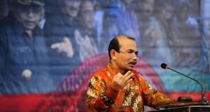 Menteri PPN/ Kepala Bappenas Andrinof A Chaniago memberi sambutan saat pembukaan Musyawarah Perencanaan Pembangunan (Musrembang) tingkat Provinsi Kalbar di Pontianak, Selasa (14/4).