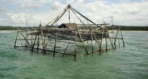 Bagang ikan milik nelayan terpasang di Pantai Sinjai, Kabupaten Sinjai, Sulawesi Selatan, Sabtu (18/7). Bagang yang terbuat dari bambu tersebut digunakan untuk menangkap ikan-ikan kecil yang kemudian diolah menjadi ikan kering. ANTARA FOTO/Yusran Uccang/Rei/Spt/15.