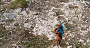 Warga berjalan di dasar Sungai Babon yang mengering di Mluweh, Ungaran Timur, Kabupaten Semaarang, Jateng, Jumat (31/7). Debit air Sungai Babon berkurang hingga 95 persen selama dua bulan terakhir seiring berlangsungnya musim kemaarau. ANTARA FOTO/Aditya Pradana Putra/ss/kye/15.