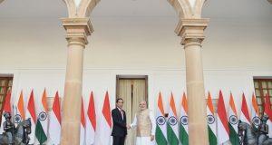 Presiden Jokowi dan PM Modi di Hyderabad House, New Delhi, Senin (12/12) siang waktu setempat. (Foto : Setpres)